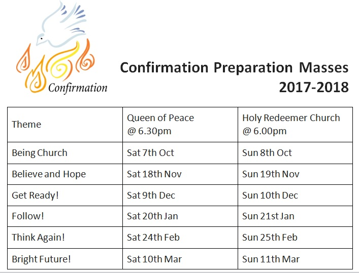 Confirmation Preparation Masses 2017-2018